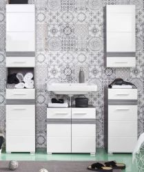 Badkombination SetOne in Hochglanz weiß und Sardegna grau Rauchsilber Badmöbel Set 4-teilig 159 x 182 cm