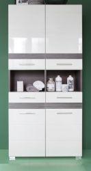Badmöbel Hochschrank SetOne in Hochglanz weiß und Sardegna grau Rauchsilber Badschrank 73 x 182 cm