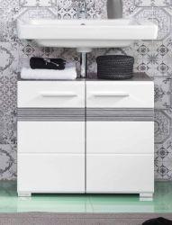 Waschbeckenunterschrank SetOne in Hochglanz weiß und Sardegna grau Rauchsilber Badschrank 60 x 56 cm