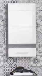 Badmöbel Hängeschrank SetOne in Hochglanz weiß und Sardegna grau Rauchsilber Badschrank 37 x 77 cm