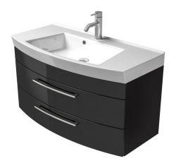 Waschbeckenunterschrank Rima in Hochglanz anthrazit Waschplatz hängend inkl. Waschbecken Set 2-tlg. 100 x 57 cm