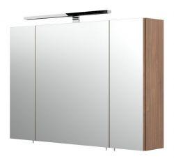 Badezimmer Spiegelschrank Rima in Walnuss inklusive LED Spiegellampe 90 x 62 cm 3-türig