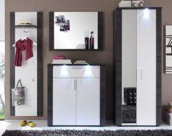Garderobenkombination Xpress Esche grau weiß 4-teilig 267 x 184 cm inkl. LED Beleuchtung
