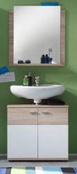 Badmöbel Set Campus in Eiche San Remo hell und weiß Badkombination mit Waschbeckenunterschrank und Spiegel