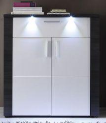 Garderobe Schuhschrank Xpress Esche grau weiß  89 x 97 cm inkl. LED Beleuchtung