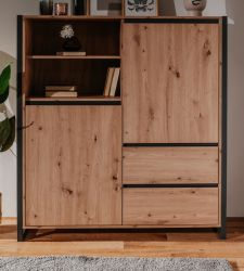 Highboard Denver in Artisan Eiche und Anthrazit im Industrie Look 120 x 140 cm