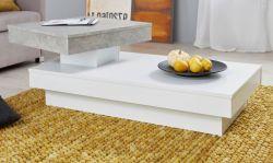 Couchtisch in weiß und Stone Design grau Wohnzimmertisch drehbar 110 x 60 cm