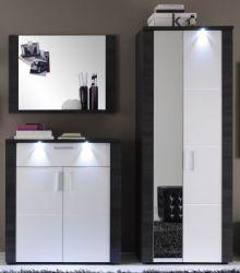 Flurgarderobe Xpress weiß und Esche grau Garderobenkombination Set 3-teilig 180 cm mit LED-Beleuchtung