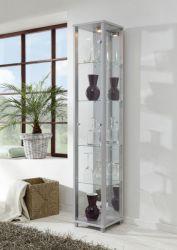 Vitrine Glasvitrine silber/alufarben mit Spiegelrückwand und Beleuchtung