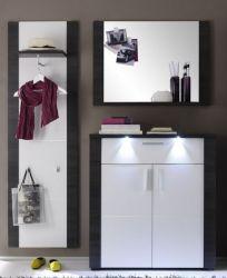 Garderobenkombination Xpress Esche grau weiß 3-teilig 162 x 184 cm inkl. LED Beleuchtung