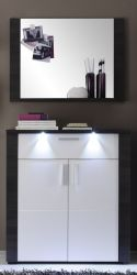 Garderobenset Xpress weiß und Esche grau Schuhschrank und Spiegel inkl. LED-Beleuchtung