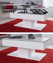 Couchtisch Universal in weiß und Stone Design Wohnzimmertisch 110 x 60 cm Beistelltisch aufklappbar mit Esstischfunktion