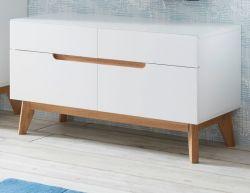 Garderobenbank Cervo in matt weiß echt Lack mit Asteiche massiv Flur Sitzbank 97 x 53 cm