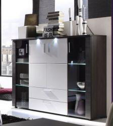 Highboard Xpress Esche grau weiß Schrank inkl. LED Beleuchtung 150 x 123 cm