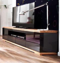 TV-Lowboard Chiaro schwarz Hochglanz Lack und Eiche / Asteiche massiv geölt TV-Unterteil 202 x 54 cm