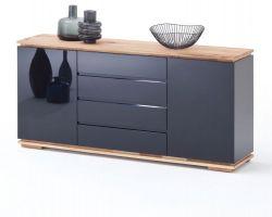 Sideboard Chiaro schwarz Hochglanz Lack und Eiche / Asteiche massiv geölt Kommode 172 x 81 cm