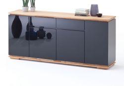 Sideboard Chiaro schwarz Hochglanz Lack und Eiche / Asteiche massiv geölt Kommode 182 x 81 cm