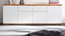 Sideboard Chiaro matt weiß Lack und Eiche / Asteiche massiv geölt Kommode 182 x 81 cm
