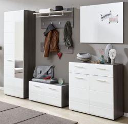 Garderobe Set 6-teilig Line in Hochglanz weiß und Sardegna grau Rauchsilber Flur Garderobenkombination 250 x 191 cm