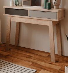 Konsolentisch Epik in Eiche Endgrain und grau Wandtisch 110 x 85 cm