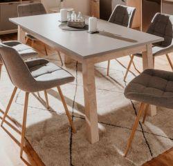 Esstisch Epik in Eiche Endgrain und grau Küchentisch ausziehbar inkl. 2 x Einlegeplatte 160 / 200 / 240 x 90 cm