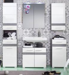 Badkombination SetOne in Hochglanz weiß und Sardegna grau Rauchsilber Badmöbel Set 5-teilig mit Spiegelschrank