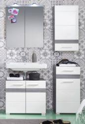 Badkombination SetOne in Hochglanz weiß und Sardegna grau Rauchsilber Badmöbel Set 4-teilig mit Spiegelschrank