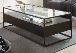 Couchtisch Evora schwarz matt mit Metallgestell und Glasplatte 120 x 60 cm