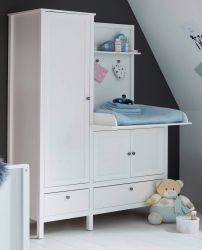 Babyzimmer Kleiderschrank mit integrierter Wickelkommode Ole in weiß Landhaus Babymöbel 138 x 192 cm