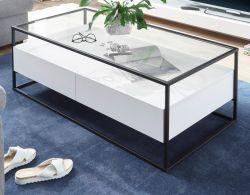 Couchtisch Evora weiß matt mit Metallgestell und Glasplatte 120 x 60 cm