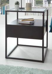 Beistelltisch Evora schwarz matt mit Metallgestell und Glasplatte 43 x 43 cm