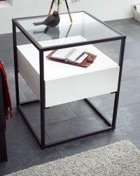 Beistelltisch Evora weiß matt mit Metallgestell und Glasplatte 43 x 43 cm
