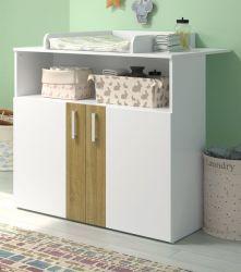Babyzimmer Wickelkommode Berry in weiß und Eiche Babymöbel Wickeltisch 96 x 102 cm