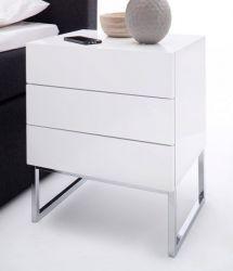 Nachttisch Nola Hochglanz weiß lackiert Nachtkonsole in Komforthöhe mit 3 x Schubkasten