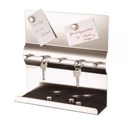 Schlüsselboard Axentia in rostfreiem Edelstahl Memoboard mit 5 Magneten Schlüsselbrett mit 5 Haken