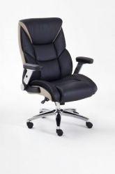 Bürostuhl Real Comfort in Kunstleder schwarz und beige mit Wippmechanik Schreibtischstuhl bis 180 kg