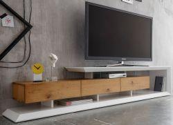 TV-Lowboard Emela in weiß matt lackiert und Asteiche geölt TV-Unterteil 198 x 43 cm
