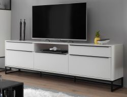 TV-Lowboard Lille weiß matt lackiert Fernsehtisch mit Metallgestell schwarz 215 x 69 cm TV in Komforthöhe
