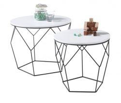 Couchtisch Haiti 2er Set in weiß matt lackiert mit Metallgestell