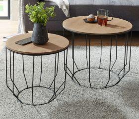 Couchtisch Haiti 2er Set in Eiche furniert geölt Beistelltisch mit Metallgestell schwarz 2 x Tisch Wohnzimmer