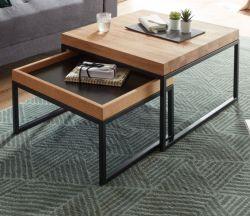 Couchtisch Lubao 2er Set in Asteiche / Eiche massiv geölt Beistelltisch mit Metall schwarz 2 x Tisch Wohnzimmer
