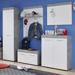 Garderobe Set 5-teilig Street in weiß und Beton Design grau Flur Garderobenkombination 244 x 196 cm