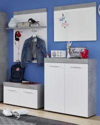 Garderobe Set 4-teilig Street in weiß und Beton Design grau Flur Garderobenkombination 175 x 196 cm