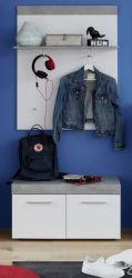 Garderobe Set 2-teilig Street in weiß und Beton Design grau Garderobenkombination mit Paneel und Sitzbank