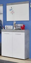 Garderobe Set 2-teilig Street in weiß und Beton Design grau Flur Garderobenkombination mit Schuhschrank und Spiegel