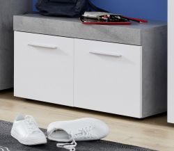 Garderobe Sitzbank Street in weiß und Beton Design grau Garderobenbank 80 x 47 cm