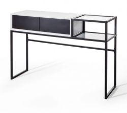 Konsolentisch Kasan in weiß und schwarz matt lackiert Konsole für Flur / Diele Tisch 120 x 80 cm