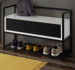 Garderobenbank Kasan in weiß und schwarz matt lackiert Schuhbank 84 x 58 cm