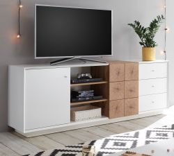 TV-Lowboard Jamaika weiß matt lackiert und Eiche Hirnholz TV-Unterteil in Komforthöhe 179 x 65 cm