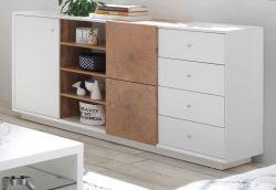 Sideboard Jamaika in weiß matt lackiert und Eiche Hirnholz Kommode 179 x 83 cm